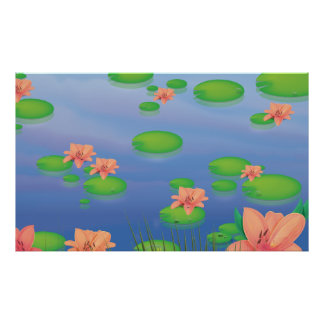 Pond Lilly Leafs Poster