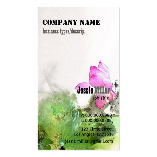 POND LOTUS l Chinese Brush Painting Art Double-Sided Standard Business Cards (Pack Of 100)