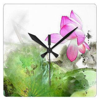 POND LOTUS l Chinese Brush Painting Art Square Wall Clock