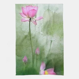 POND LOTUS l Chinese Brush Painting Art Kitchen Towel