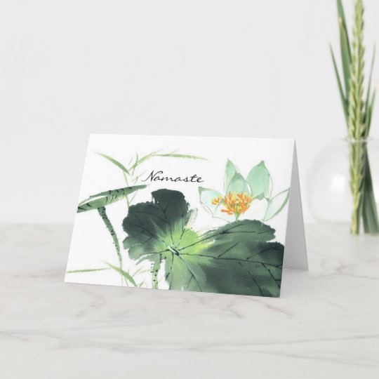 Pond Lotus Peace L Chinese Brush Painting Art Card Zazzlecom