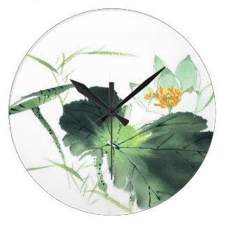 POND LOTUS PEACE l Chinese Brush Painting Art Wallclock