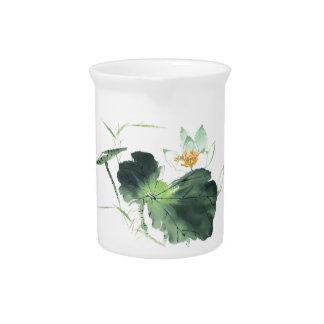 POND LOTUS PEACE l Chinese Brush Painting Art Pitcher
