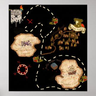 Pond Mile Treasure Map Poster