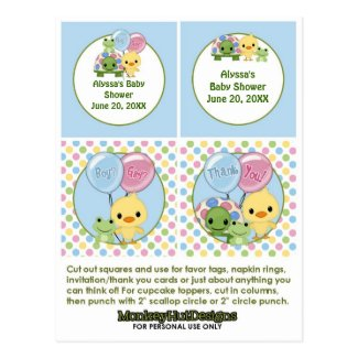 Pond Pals Duck Baby Shower Cupcake Topper Neutral