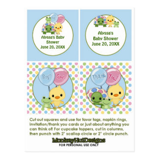 Pond Pals Duck Baby Shower Cupcake Topper Neutral Postcard