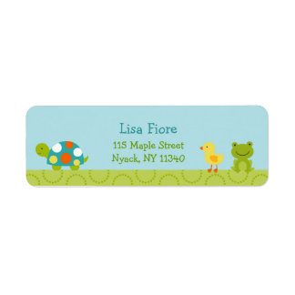 Pond Pals frog Turtle Baby Shower Address Labels
