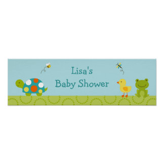 Pond Pals Frog Turtle Baby Shower Banner Sign Poster