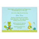 "Pond Pals Frog Turtle Baby Shower Invitations 5"" X 7"" Invitation Card"