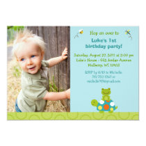 Pond Pals Frog Turtle Custom Birthday Invitations
