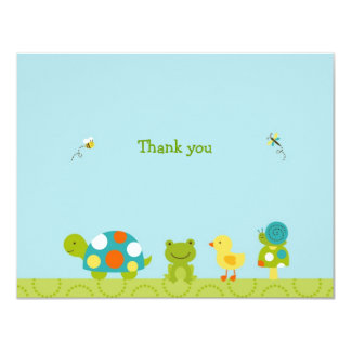 "Pond Pals Frog Turtle Flat Thank You Note Cards 4.25"" X 5.5"" Invitation Card"