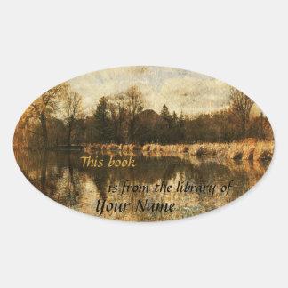 pond reflections landscape library sticker plate