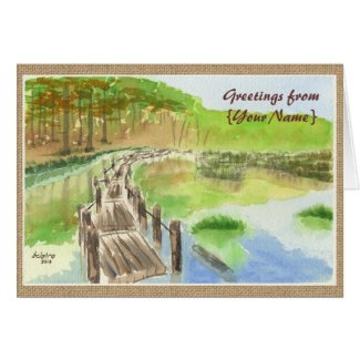 Pond Rickety Wooden Bridge Watercolor Painting Greeting Cards