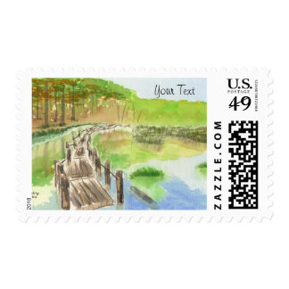Pond Rickety Wooden Bridge Watercolor Painting Stamps