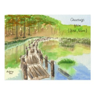 Pond Rickety Wooden Bridge Watercolor Painting Postcards