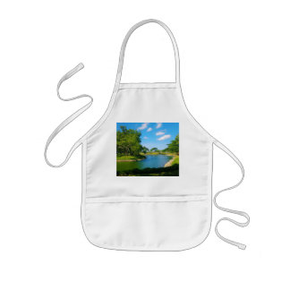 Pond Scene with Blue Skies and Clouds Kids' Apron