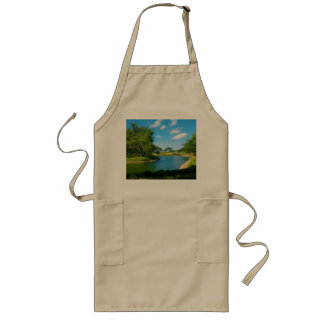 Pond Scene with Blue Skies and Clouds Long Apron