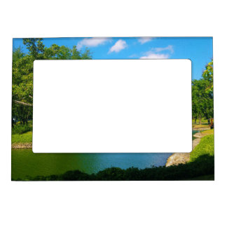 Pond Scene with Blue Skies and Clouds Magnetic Frame