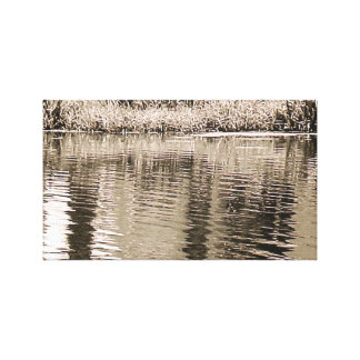 Pond Sepia Photograph Stretched Canvas Print