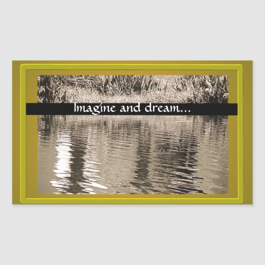 Pond Sepia Photograph Rectangular Sticker