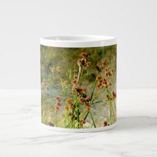 Pond shore plants, spiked puffs on stems photo giant coffee mug