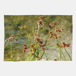 Pond shore plants, spiked puffs on stems photo hand towel
