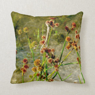 Pond shore plants, spiked puffs on stems photo throw pillow
