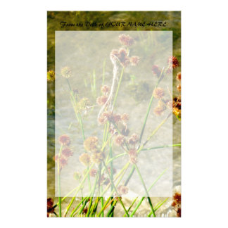 Pond shore plants, spiked puffs on stems photo stationery