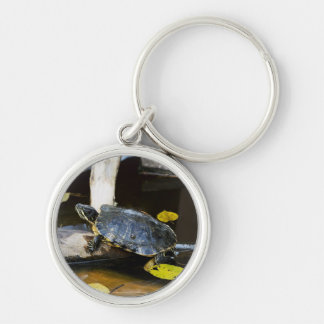 Pond slider turtle in the wild keychain