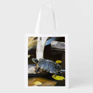 Pond slider turtle in the wild reusable grocery bag
