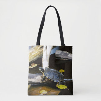 Pond slider turtle in the wild tote bag