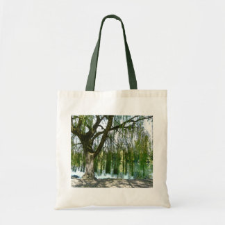 Pond through the Weeping Willow Tree Canvas Bags