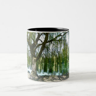 Pond through the Weeping Willow Tree Two-Tone Coffee Mug