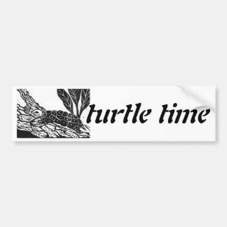Pond Turtle [black and white block print] Car Bumper Sticker