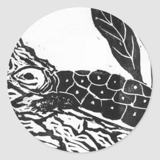 Pond Turtle [black and white block print] Classic Round Sticker