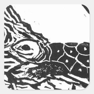 Pond Turtle [black and white block print] Square Sticker
