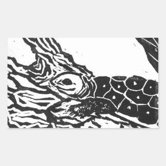 Pond Turtle [black and white block print] Rectangular Sticker