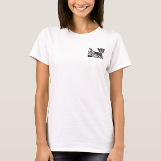 Pond Turtle [black and white block print] T-Shirt