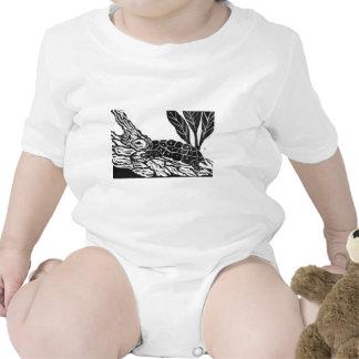 Pond Turtle [black and white block print] Tshirt