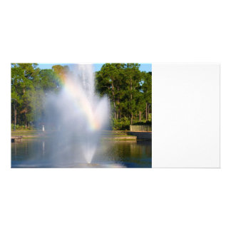 Pond water Fountain with rainbow Photo Greeting Card