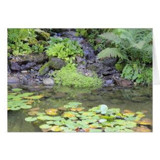 Pond with a Small Waterfall Greeting Card