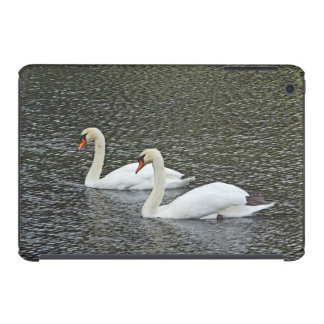 POND WITH TWO SWANS FLOATING BESIDE ONE ANOTHER iPad MINI CASES