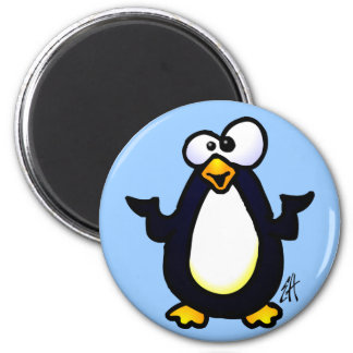 Pondering Penguin 2 Inch Round Magnet