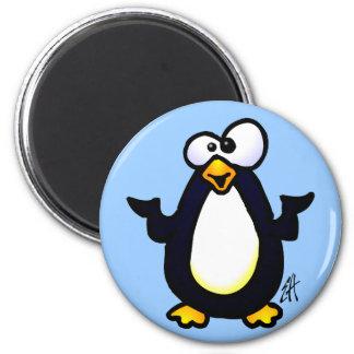 Pondering Penguin 2 Inch Round Magnet