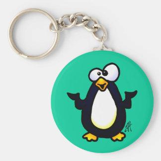 Pondering Penguin Basic Round Button Keychain