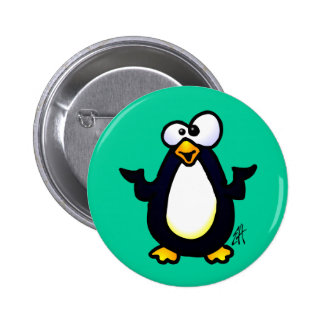 Pondering Penguin Pinback Buttons