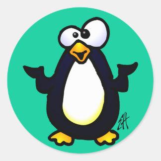 Pondering Penguin Classic Round Sticker