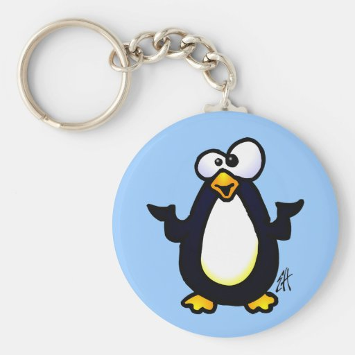 Pondering Penguin Keychain