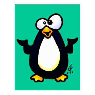 Pondering Penguin Postcard
