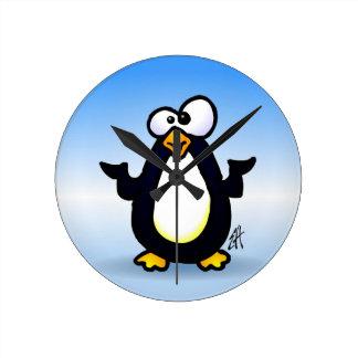 Pondering Penguin Round Clock